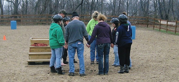 Prayer at He Reigns Rescue Ranch